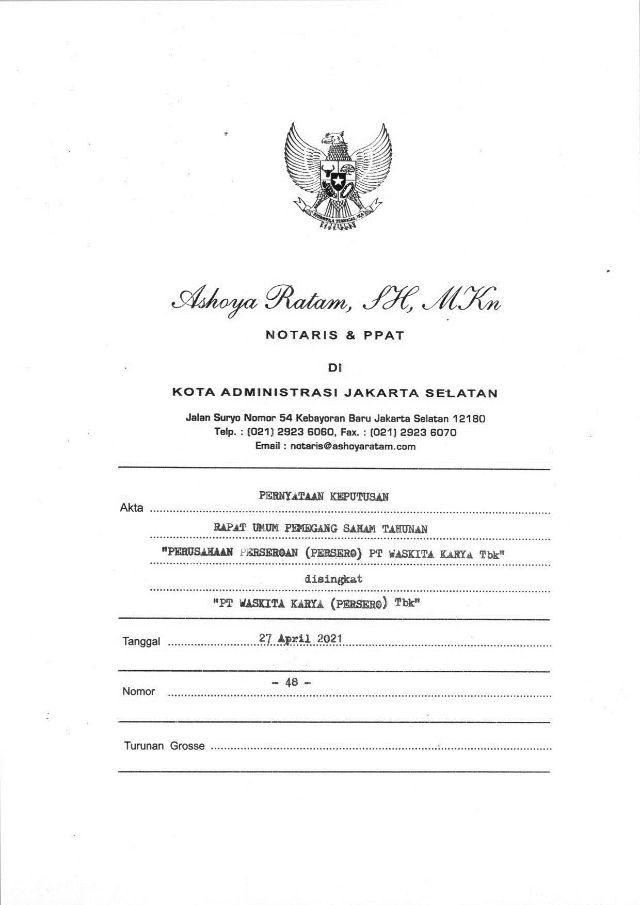 Akta No. 48 Tgl 27 Apr 2021