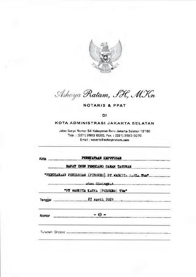 Akta No. 49 Tgl 27 Apr 2021
